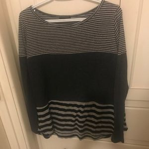 Womens Gray and Black StrippedLight-weight Sweater